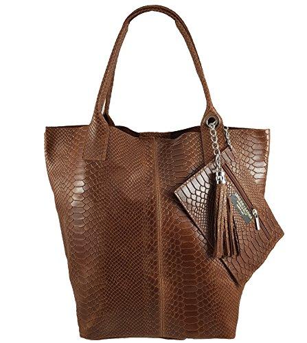 Damen Echtleder Shopper mit Schmucktasche in vielen Farben Schultertasche Henkeltasche Handtasche Metallic look (Braun Snake)