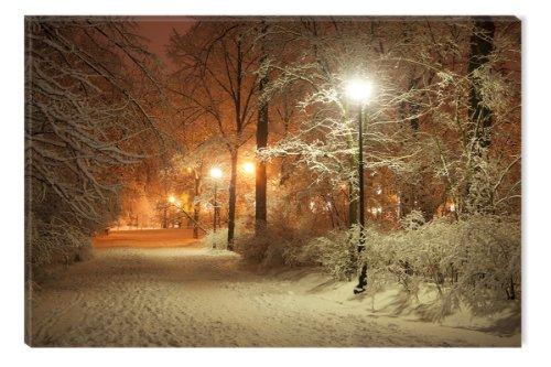 Startonight, nachleuchtendes Leinwandbild Winter im Park, 80 cm x 120 cm