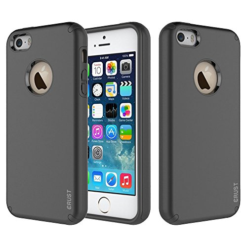 Crust Slim Armor Dual Layer Back Cover For Apple iPhone SE / iPhone 5S / iPhone 5, Shock Proof Hybrid Hard & Soft Case - (Black)