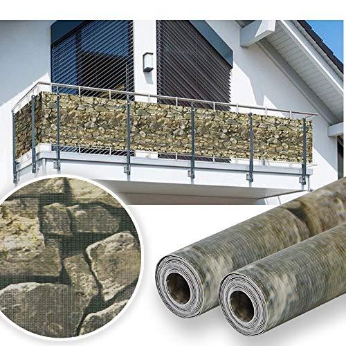 huigou HG visione protezione Strip Bar Matte recinzione strisce PVC diversi modelli per il giardino recinto o balcone (35Meter, Stein-Optik)