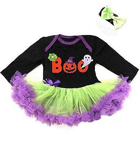 Kirei Sui Baby Halloween Boo Black Lime Purple Long Sleeves Bodysuit Medium