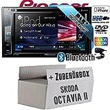 Skoda Octavia 2 1Z 2-DIN Nexus Columbus etc. - Pioneer AVH-X490DAB - DAB+ | DVD | USB| 2DIN | Bluetooth | Autoradio - Einbauset