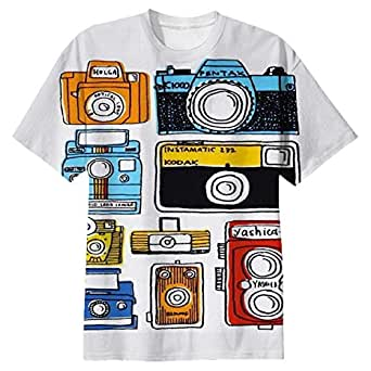 Snoogg Multi Camera Cartoon Mens Casual All Over Printed T Shirts Tees