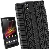 igadgitz Schwarz Silikon Skin Tasche Hülle Etui Case Cover mit Reifenprofil Reifen Profil für Sony Xperia Z Android Smartphone + Displayschutzfolie