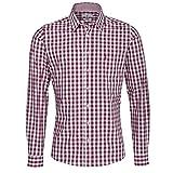 Almsach Trachtenhemd Kurt Slim Fit in Aubergine inklusive Volksfestfinder, Größe:S, Farbe:Aubergine