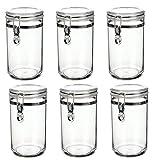 6er Vorratsdosen Vorratsbehälter Kunststoff 800ml | Deckel mit Bügelverschluss | Aufbewahrungsdosen für Lebensmittel
