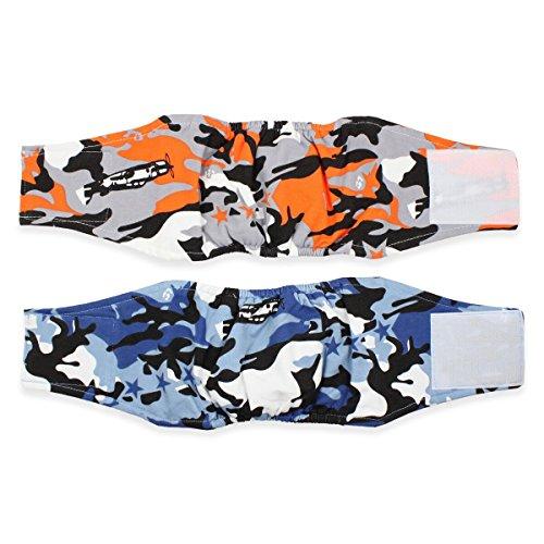 Pet Leso® Männliche Hundewindel (2er Packung) Baumwollwindel für männlichen Hund mit Klettverschluss Waschbarer Hund Bauchbänder-M