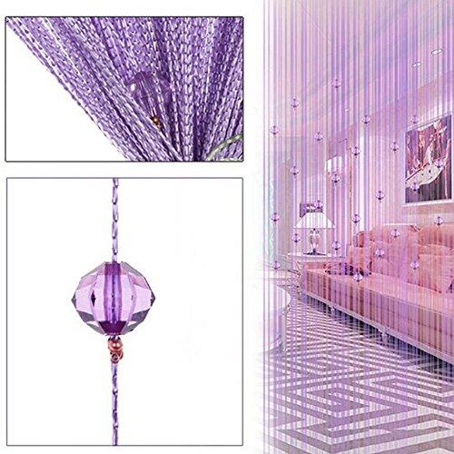 CLIUS String Vorhänge Kristall Perlen Tür Kassette Wandpaneel Fransen Bildschirme Raumteiler Blind Ative Tür Wohnzimmer Hochzeit Decor 1x2 mt(Lila)