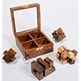 Stonkraft 4-in-One Wooden Puzzle Games Set 3D Puzzles For Teens And Adults.