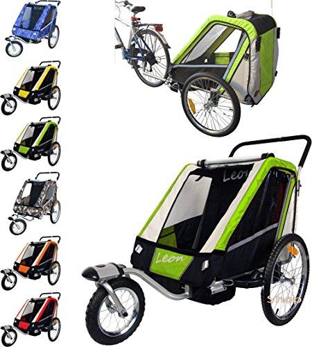 Leon paplioshop plegable bicicleta colgante Buggy con rueda delantera, para 1o 2niños, una puerta, New Verde