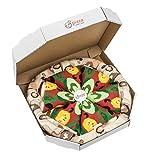 PIZZA SOCKS BOX - Vegetariana - 4 paia di CALZINI Divertenti di COTONE, Originali e Unici - REGALO perfetto - Gadget Colorato| per Donna e Uomo, EU 36-40, Prodotto in Europa