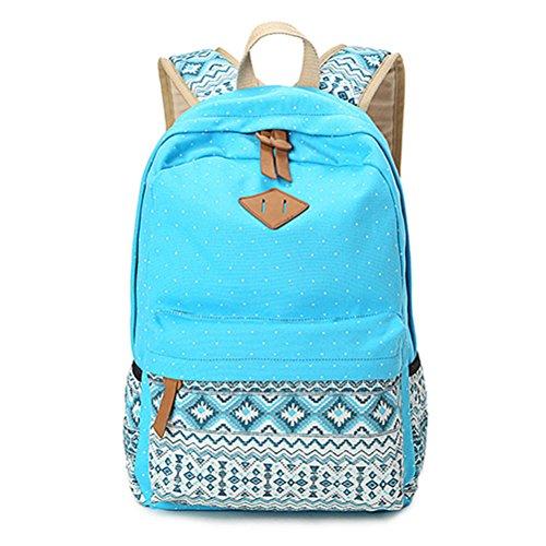 Winnerbag Vintage Schultaschen für jugendliche Mädchen Schultasche große Kapazität Dame Leinwand Dot Drucken Rucksack Rucksack Rucksack Bookbag Himmel blau (Jansport Canvas Rucksack)