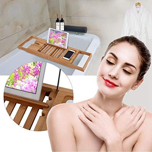Bambus Badewannenständer, 1 Stück Ausziehbarer Bambus Badewannenständer Regal Badezimmer Duschwanne Caddy Buch Leseschale Ständer Neu -