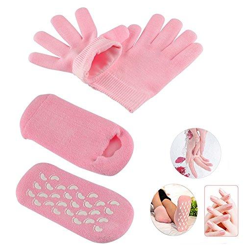 Veewon Hidratante Spa Gel calcetines guantes Whitening Hidratante Tratamiento para el cuidado de la piel Set, color rosa