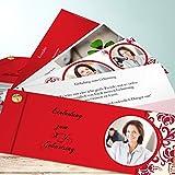 50 Geburtstag Einladungskarten, Tapetenwechsel Foto 200 Karten, Kartenfächer 210x80 inkl. weiße Umschläge, Rot