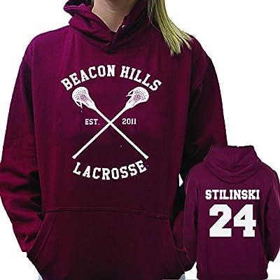 Beacon Hills Lacrosse Maroon Hoodie Sweater Stiles Stilinski 24