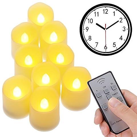 PChero 9-Pack Flammenlose LED Teelichter mit Multifunktions Fernbedienung - Timer, Helligkeitsmodus, Flickering-Modus - 200 Stunden Licht