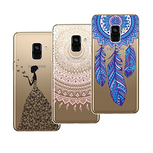 Yokata [3 Packs] Samsung Galaxy A8 Plus 2018 Hülle Transparent Weiche Silikon Handyhülle Schutzhülle TPU Handy Bumper Ultra Dünn Slim Durchsichtig Motiv Muster Clear Case Cover - Mandala + Feder + Mädchen und Schmetterling