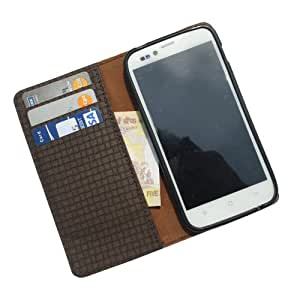 i-KitPit PU Leather Wallet Flip Case For Lava Xolo A700 (BROWN)