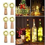 LED Flaschenlicht Weinflasche Lichterkette Korken Weihnachtsbeleuchtung Drahtlichterkette für Bar Party Weihnachten Hochzeit, 2M 20 LED Lampe, Batterien inbegriffen  (Warmweiß, 6 Stück)