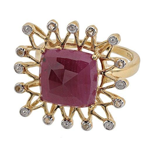 Jaipur Damen-Ring echt Gold Gelbgold 375 (9 Karat) Rubin Diamant-Rose RW17