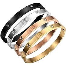 Croix en acier titane Doré Amour Bracelet avec cristaux Swarovski