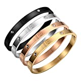 Armband Titan Stahl Swarovski-Kristalle Kreuz goldfarben