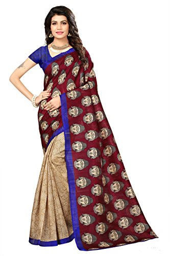 Jaanvi Fashion Bhagalpuri Silk kalamkari Printed Saree (Blue)