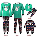 Weihnachten Familie Pyjamas Outfit Schlafanzug Nachtwäsche Damen Herren Baby Säugling Family Kleidung Zuhause Matching Set Xmas, 2PCS Cartoon Schneemann Print Top + Hosen (Mom,Large)