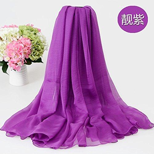 Decoration sj Sommer reine Farbe Schals weiblichen Sonnencreme dünnen Schal mit langen Absatz Strand Handtuch (200 * 150cm), ziemlich lila (Ziemlich Rock Floral)