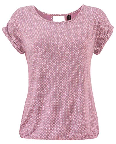 TrendiMax Damen T-Shirt Kurzarm Sommer Shirt mit Allover-Minimal Print Causal Oberteil Bluse Tops - Rosa Bluse Shirt