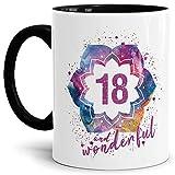 Tassendruck Geburtstags-Tasse 18 and Wonderful Geburtstags-Geschenk zum 18. Geburtstag ALS Geschenkidee für die Frau/Abstrakt / Bunt/Kaffeetasse / Innen & Henkel Schwarz