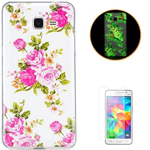 KaseHom Compatible for Samsung Galaxy G530 Leuchtende Wirkung Ultra dünn TPU Hülle, Weich Klar Silikongel Stoßfest Rutschfest Gummi Stoßstange Staubbeweis Haut Schutzschale Fall-Rose Blume (Gummi-blatt Dünne)