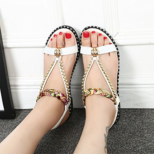 Azbro Women's Open Toe Rhinestone Bohemian Flat Sandals Black