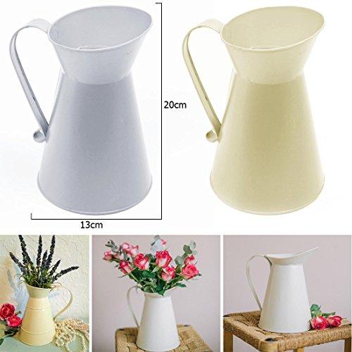 JJOnlinestore–Shabby Chic rústico Vintage jarra de flores decoración pantalla lata de acero...