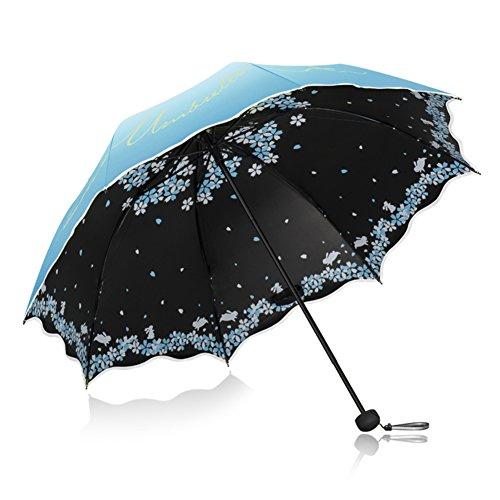 Anti-uv Protection Solaire étanche à La Pluie Double Usage Parapluie Pliable ,Tissu De Impact Folding Pocket Black Colle Tissu Ultra-léger Commode Porter Parapluie-Bleu diamètre110cm(43inch)