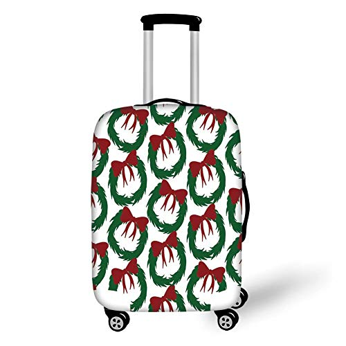 Travel Luggage Cover Suitcase Protector,Geometric,Leaves Ribbon Design Sacred Traditions of Christmas Seasonal Ornate Motif,Green Ruby White,for Travel S