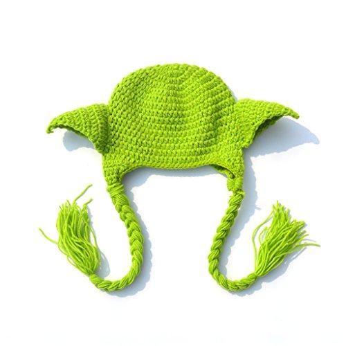 Lyguy, Babymütze, handgefertigt, gestrickt, Star Wars, Yoda-Kostüm, für Neugeborene (Yoda Baby Star Wars Kostüm)