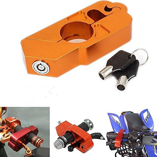 LEAGUE&CO Universal CNC Motorradschloss Bremshebel Sicherheitsschloss Motorradsicherheit mit Schlüssel für Harley Suzuki Kawasaki Honda (Orange)
