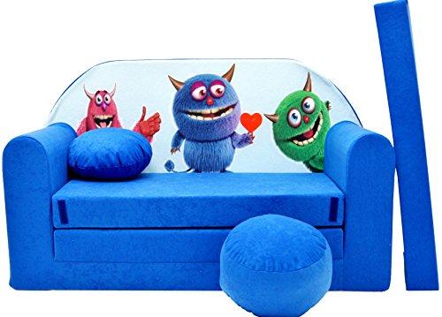 PRO COSMO C28Kinder Sofa Bett mit Puff/Fußbank/Kissen, Stoff, Blau, 168x 98x 60cm