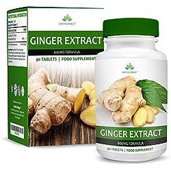 Extrait de Gingembre 600mg - Extrait Haute Concentration 20:1 - Ginger Root - Convient aux Végétariens - 90 Comprimés (3 Mois d'Approvisionnement) de Earths Design