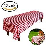 Kunststoff Tischdecke, 10er Pack karierten Tischdecke Rechteck rot weiß Einweg Tischdecke Party Supplies Picknick im Freien Grill Camping