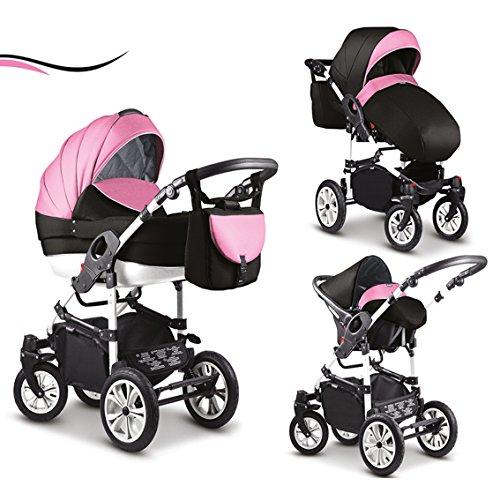 """16 teiliges Qualitäts-Kinderwagenset-Reisesystem 3 in 1""""COSMO"""" in 41 Farben: Kinderwagen + Buggy + Autokindersitz + Schwenkräder - Mega-Ausstattung - in Farbe (C-37) ROSA-WEIß-SCHWARZ"""