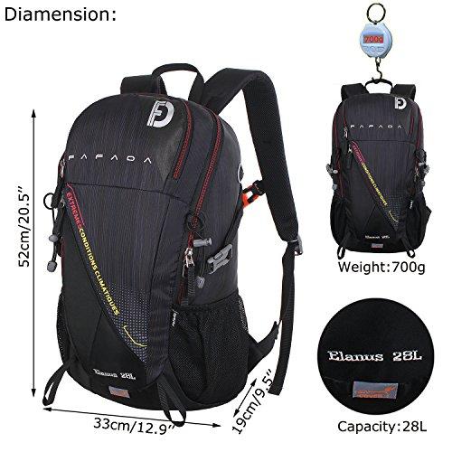 Imagen de fafada 28l unisex  de senderismo viaje marcha del deporte casual escalada trekking con cubierta de lluvia impermeable negro alternativa
