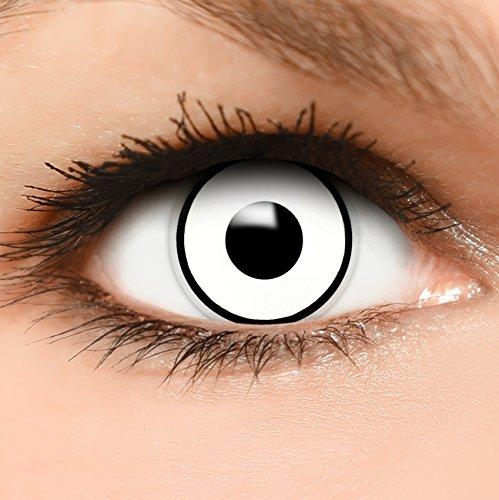 """Farbige Kontaktlinsen """"Bogie"""" in weiß + Kombilösung + Behälter - Top Linsenfinder Markenqualität, 1Paar (2 Stück)"""