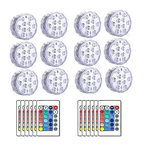 ible LED-Leuchten mit Fernbedienung Farbwechsel wasserdichte LED-Teelichter Wasserdicht Pool Lampe Batteriebetriebene Unterwasserlicht für Vase Basis Blumen Aquarium Garten Hochze ()