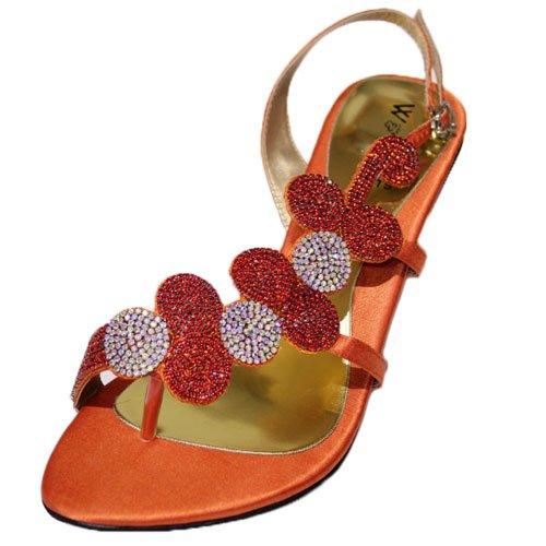 & femme W W pour demoiselle d'honneur avec strass Soirée Mode Sandales 4 et 11 (argent, or, Orange, bleu roi, rose, vert MIZRA Orange - Orange
