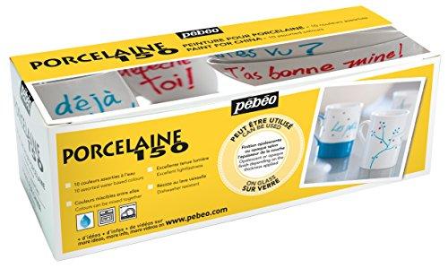 Pebeo Porcelaine 150 Porzellan-Farbe, 10er-Set, verschiedene Farben, in Karton