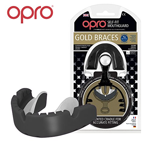 OPRO Mundschutz GEN 3 Gold Ortho - Zahnschutzfür Zahnspangen-Träger - für Rugby, Hockey, MMA, Boxen, Lacrosse, American Football, Basketball - selbst anformbar - im UK entworfen & hergestellt (Schwarz)