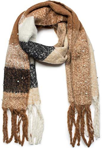 styleBREAKER Damen XXL Schal kariert mit Perlen und langen Fransen, Winter Strickschal 01017103, Farbe:Braun-Beige-Schwarz